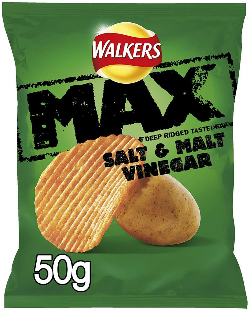Walkers Max Salt and Vinegar Crisps 50g