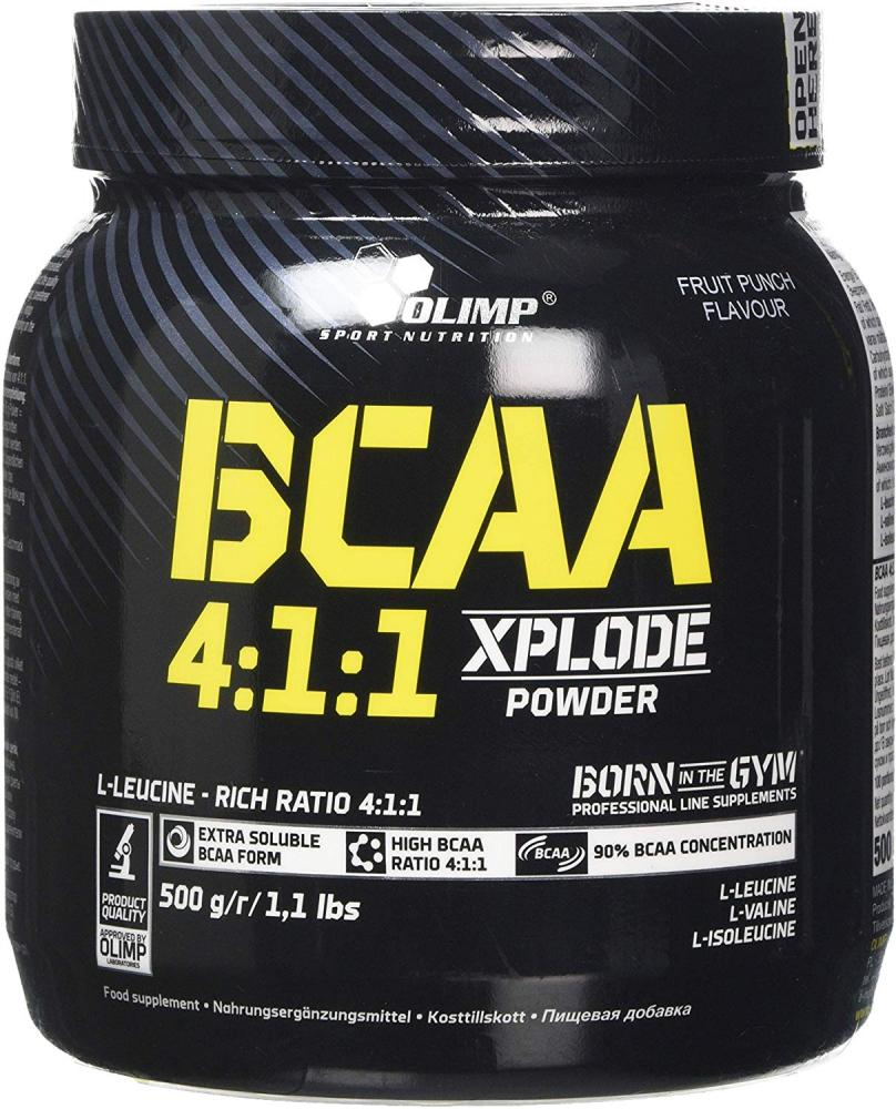 Olimp BCAA 4 1 1 Xplode Powder Amino Acids Supplement Fruit Punch Flavour 500g