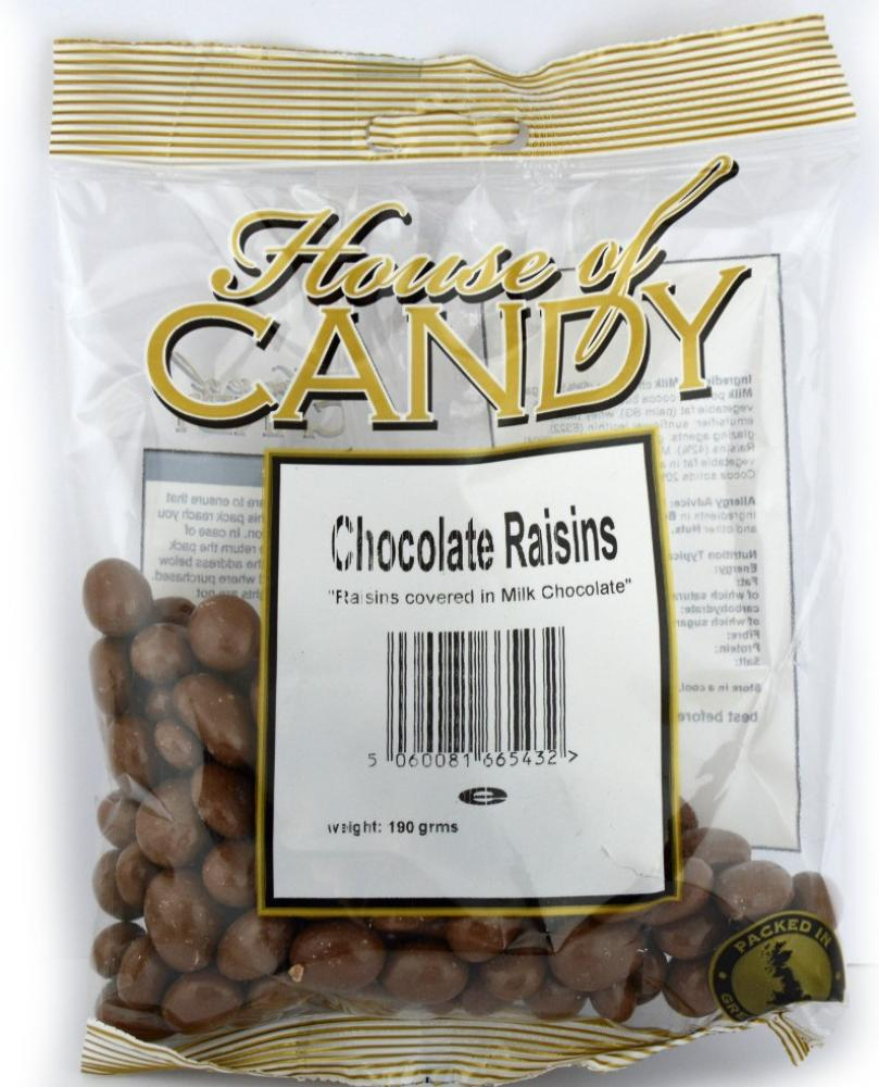 House Of Candy Chocolate Raisins 190g