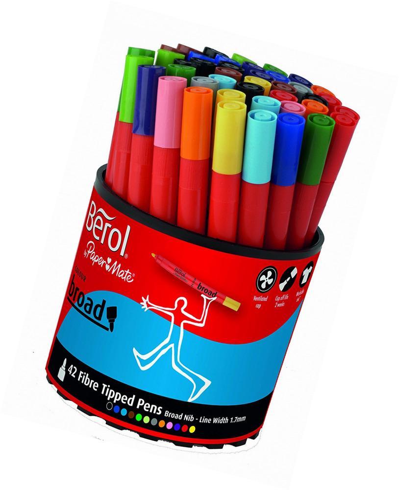 Berol Assorted Colour Broad Fibre Tip Pens 42 pack