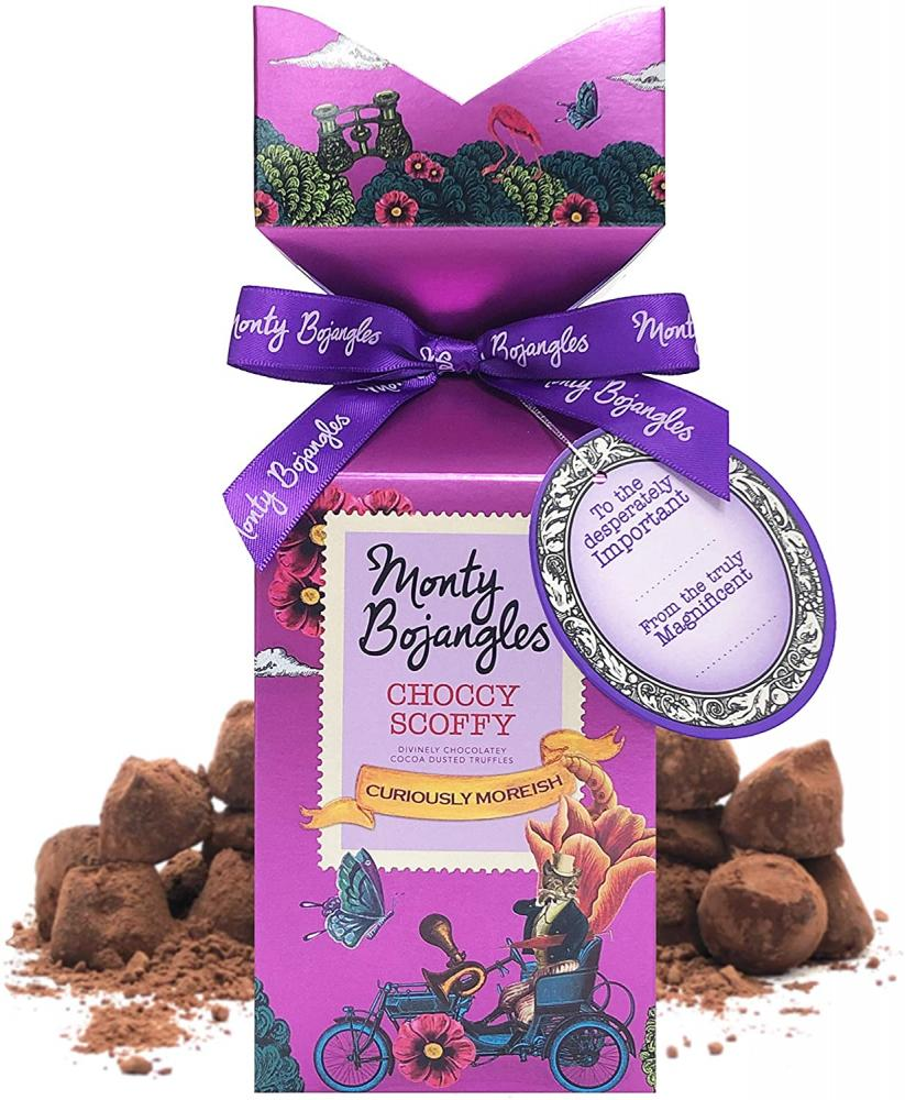 Monty Bojangles Choccy Scoffy Chocolate Cocoa Dusted Truffles Tip Top Gift Box 150 g
