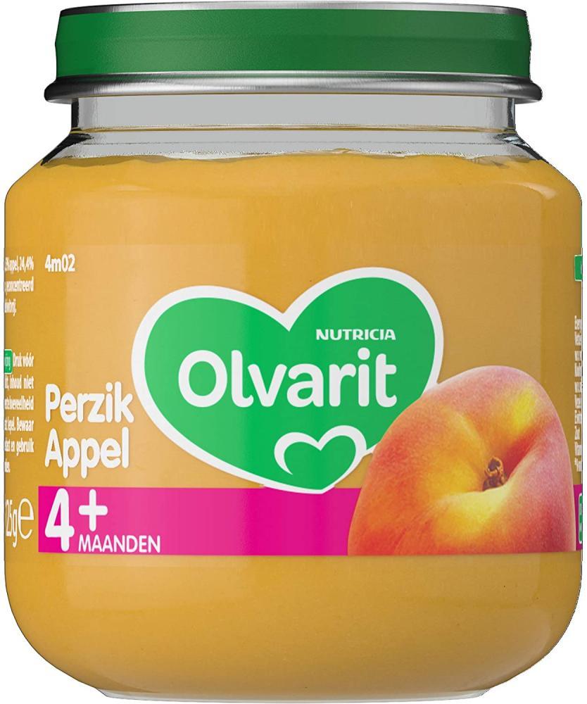 Olvarit Peach Apple 4plus Months Baby Food 125g