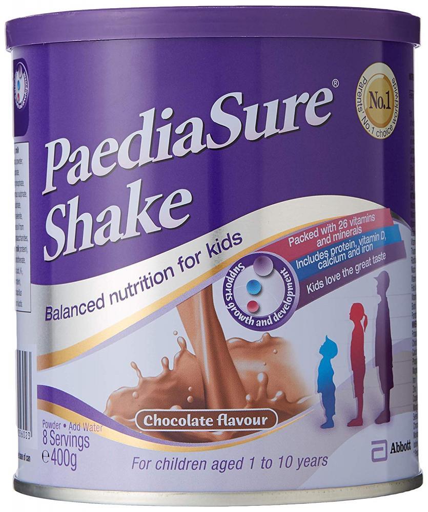Abbott PaediaSure Shake Childrens Food Supplement Drink Mix for Growth and Development Chocolate 400 g