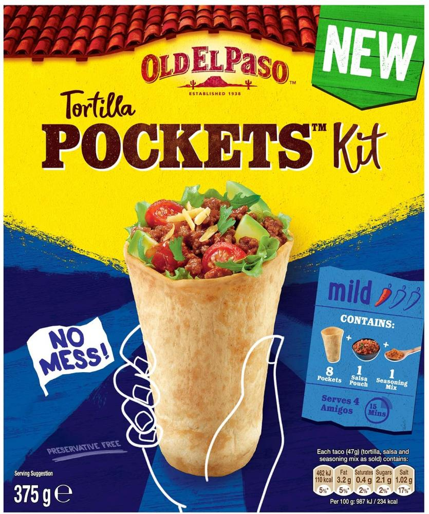 Old El Paso Tortilla Pockets Wrap Mexican Fajita Kit 375g