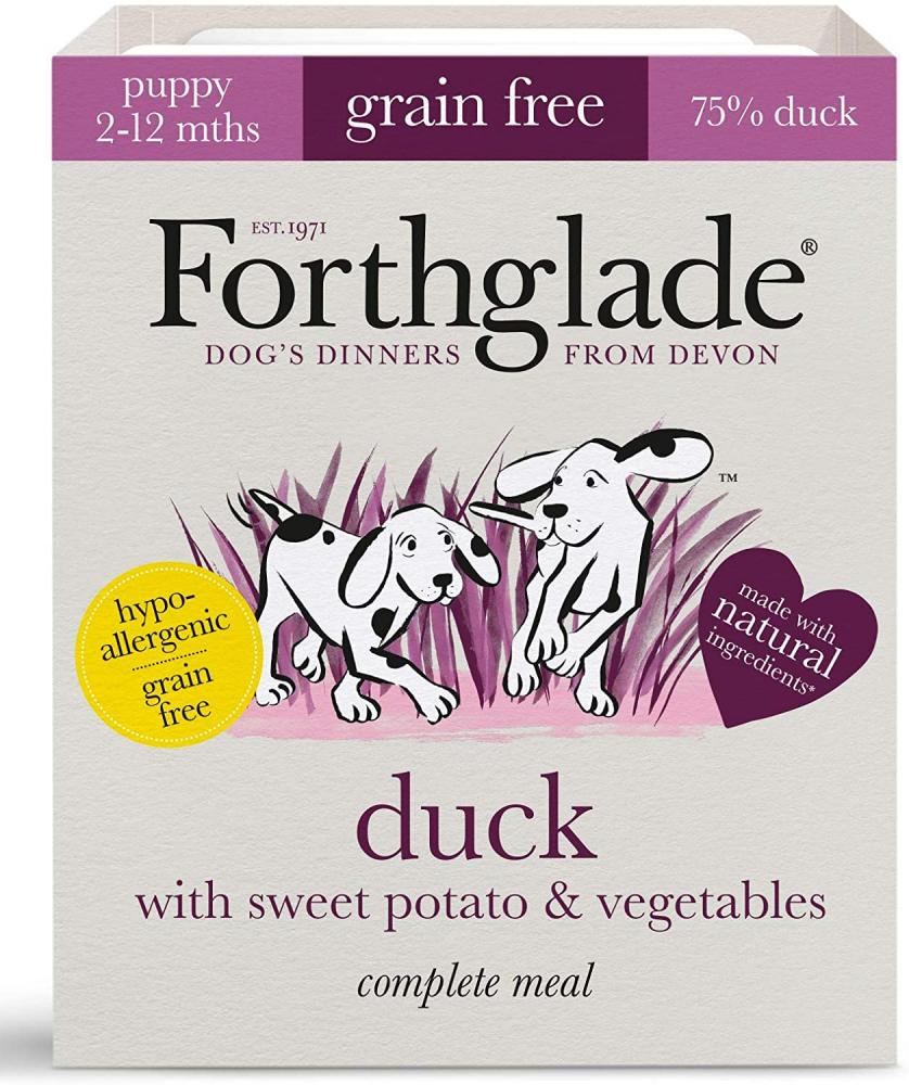 Forthglade Natural Puppy Grain Free Complete Wet Dog Food Duck Sweet Potato and Vegetables 395g