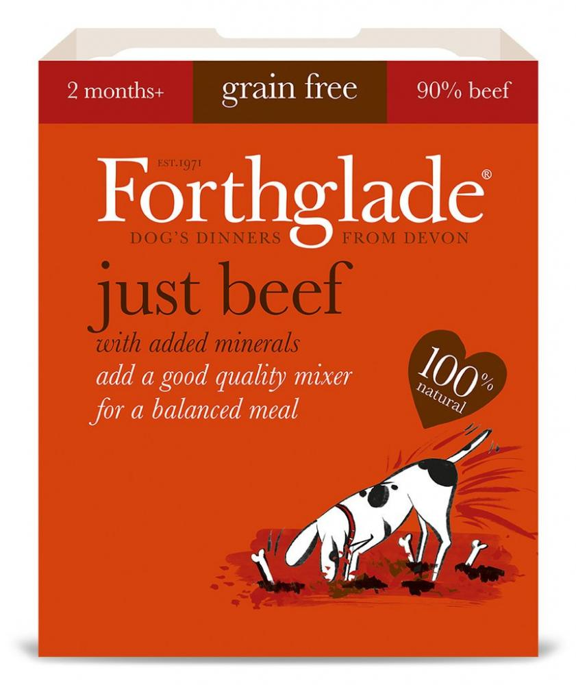 Forthglade 100 Natural Grain Free Complementary Dog Pet Food Just 90 Beef 395g