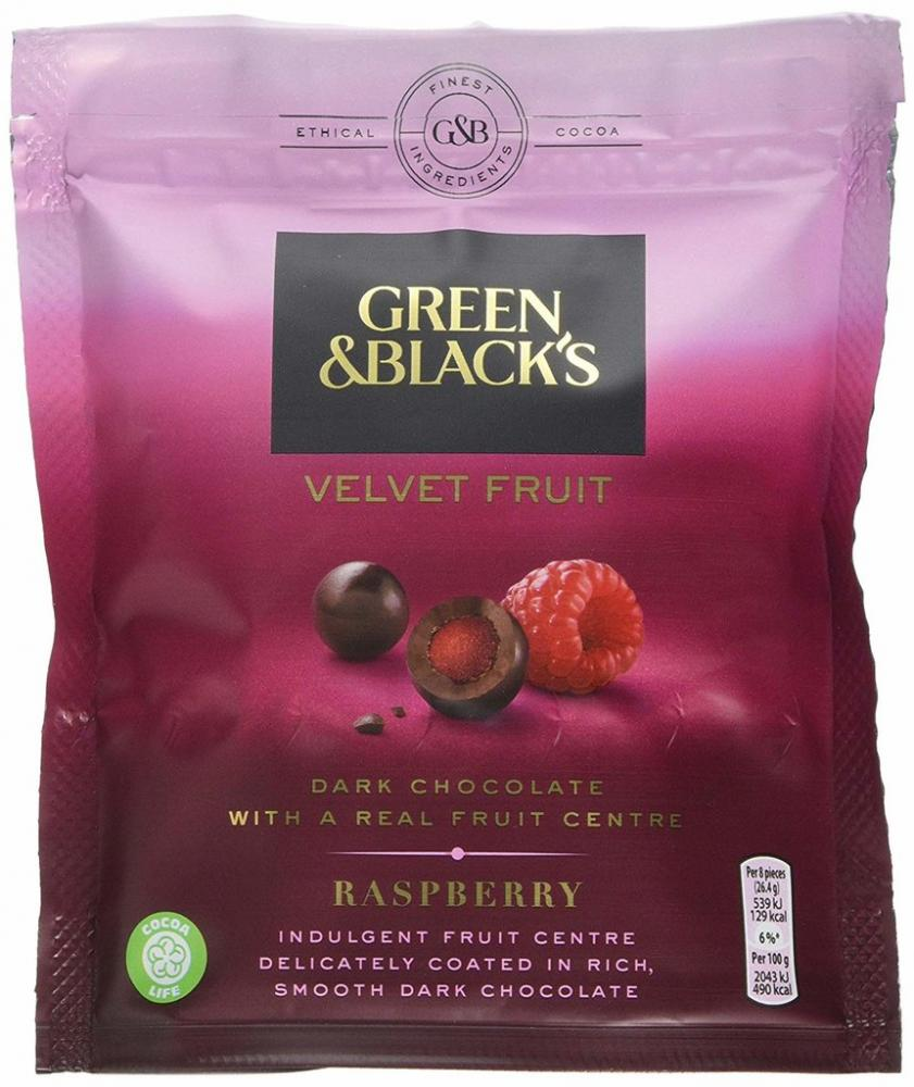 Green and Blacks Velvet Fruit Raspberry Bag 120g