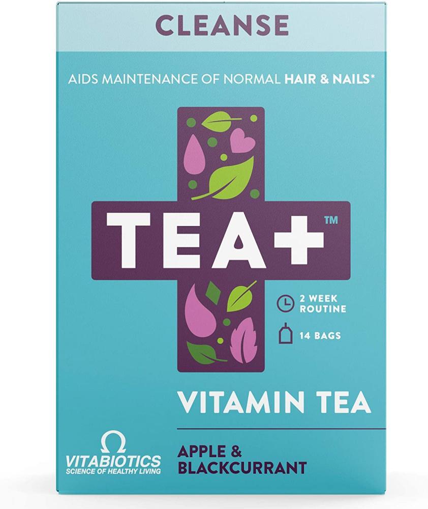 Vitabiotics Tea Plus Cleanse Vitamin Infused Supplement Herbal tea with Selenium and Biotin 14 Bags 14 Bags