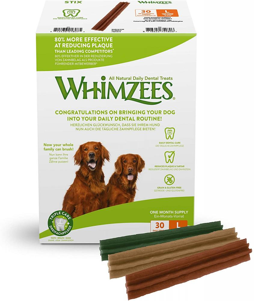 Whimzees Natural Dental Dog Chews Long lasting Large Stix 30 Pieces