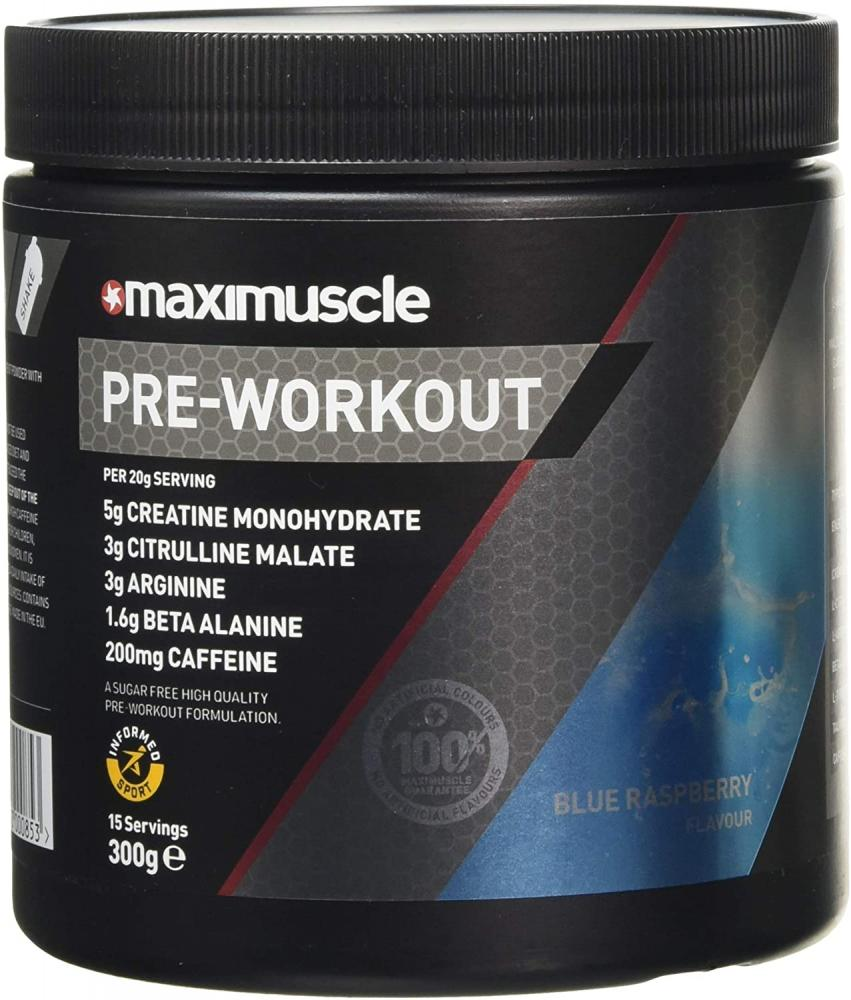 Maxi Muscle Pre-Workout Blue Raspberry Flavour 300g