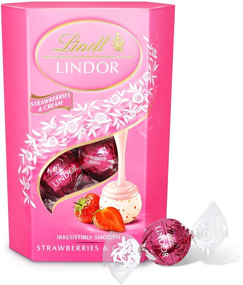 Lindt Lindor Strawberries and Cream Chocolate Truffles Box 200 g Damaged Box