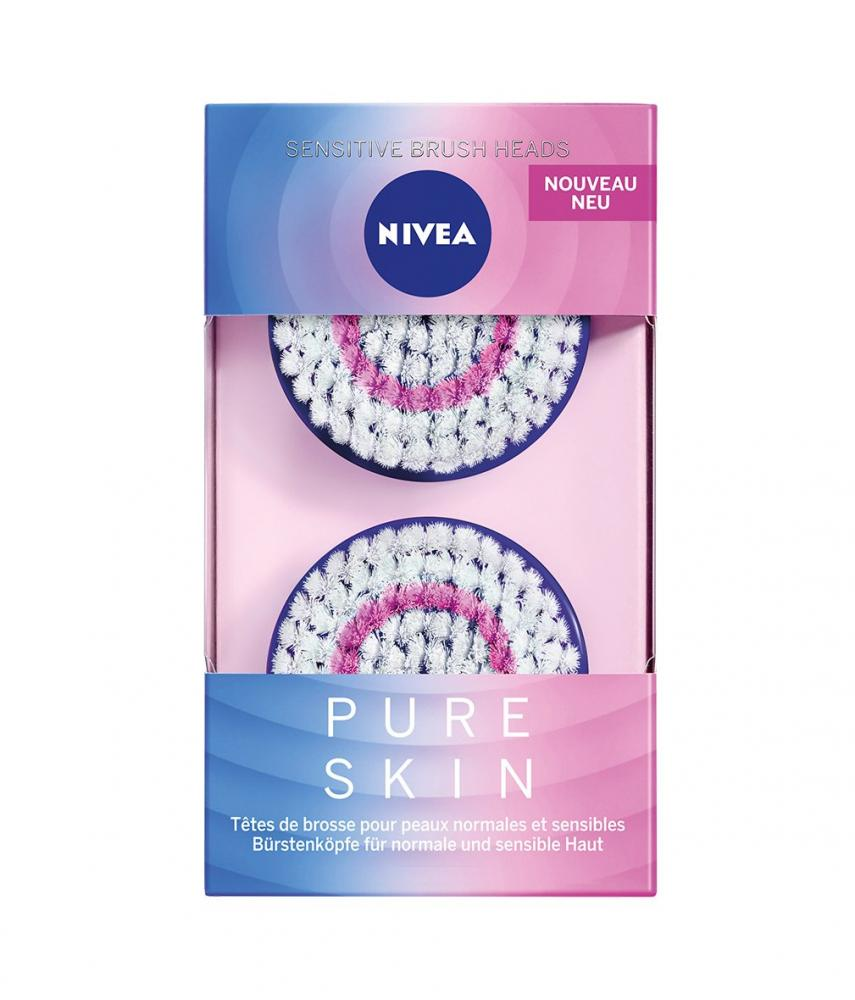 Nivea PURE SKIN Sensitive Brush Head for the Electrical Facial Cleansing Brush Pack of 2