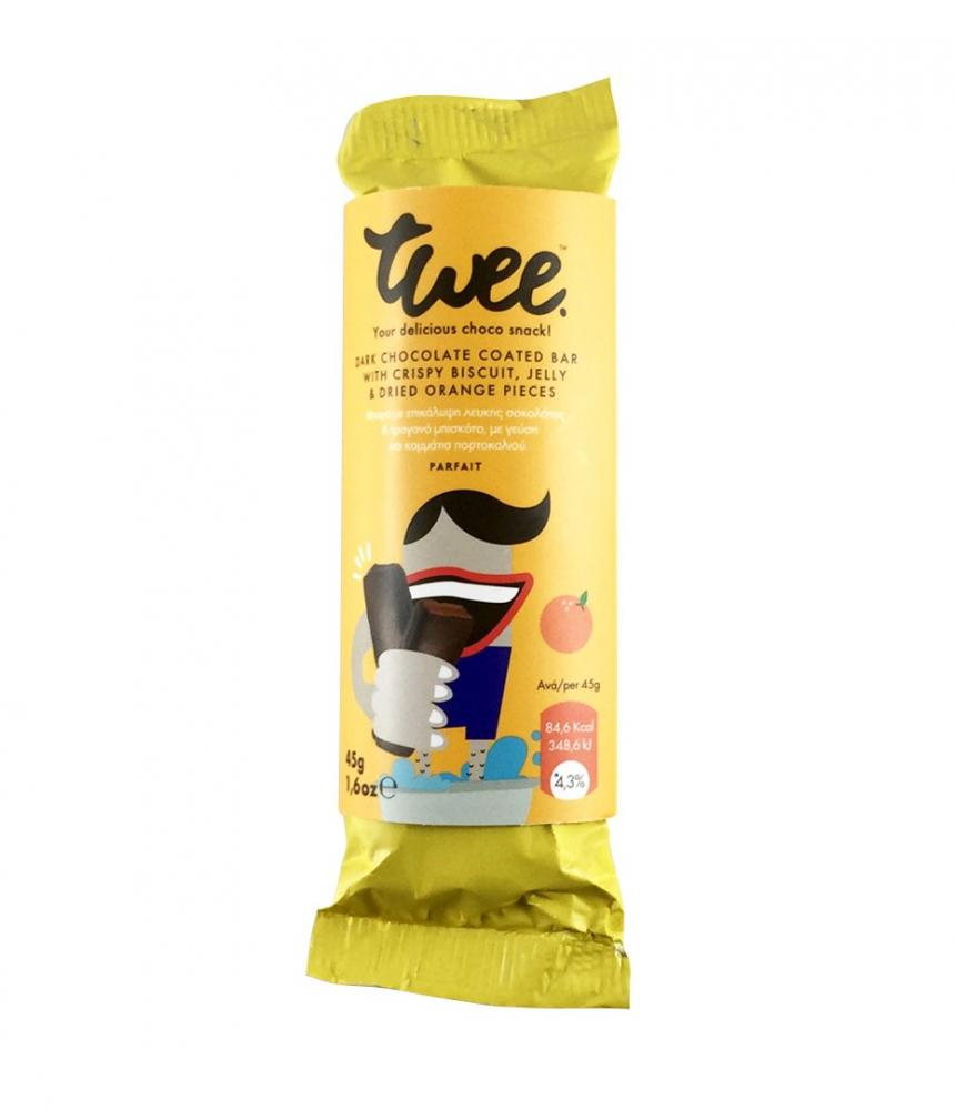 Twee Low Calorie Choco Bar with Orange Filling Biscuit and Dark Chocolate 45g