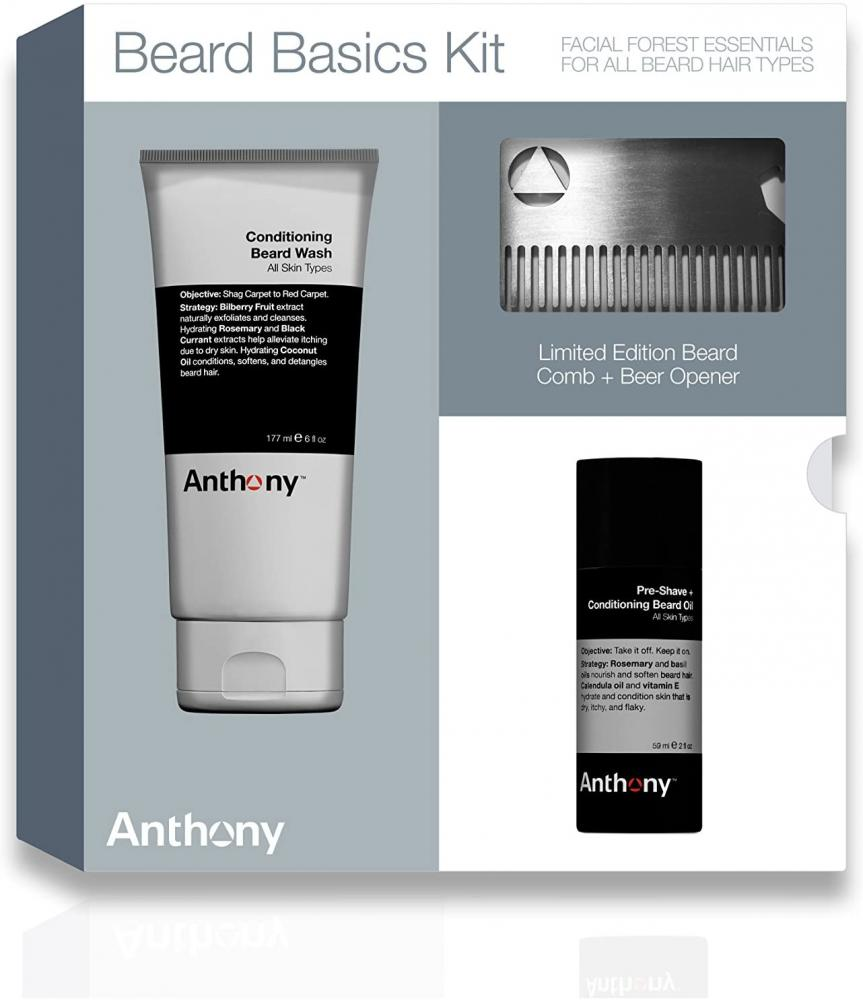 Anthony Beard Basics Kit - Conditioning Beard Wash Pre-Shave and Conditioning Beard Oil Beard Comb