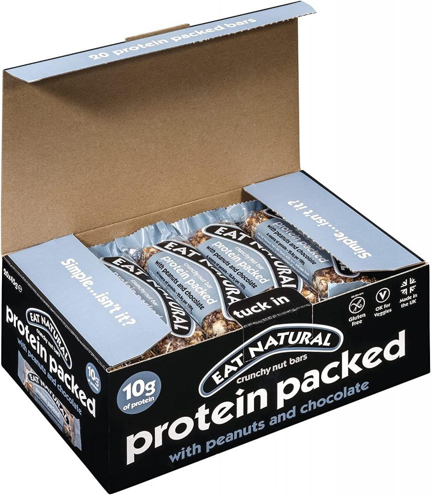 CASE PRICE  Eat Natural Protein Packed With Peanuts and Chocolate 12 x 45g