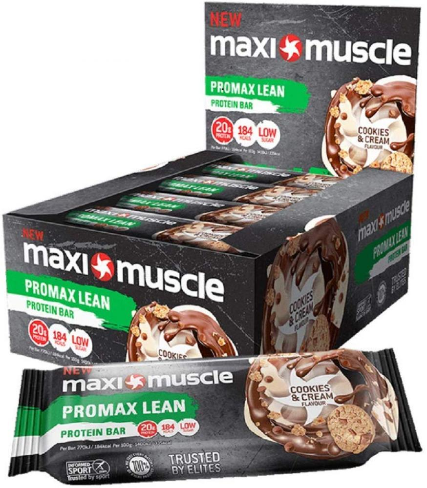 CASE PRICE  Maxi Muscle Promax High Protein Bar Cookies and Cream Flavour 55g x 12