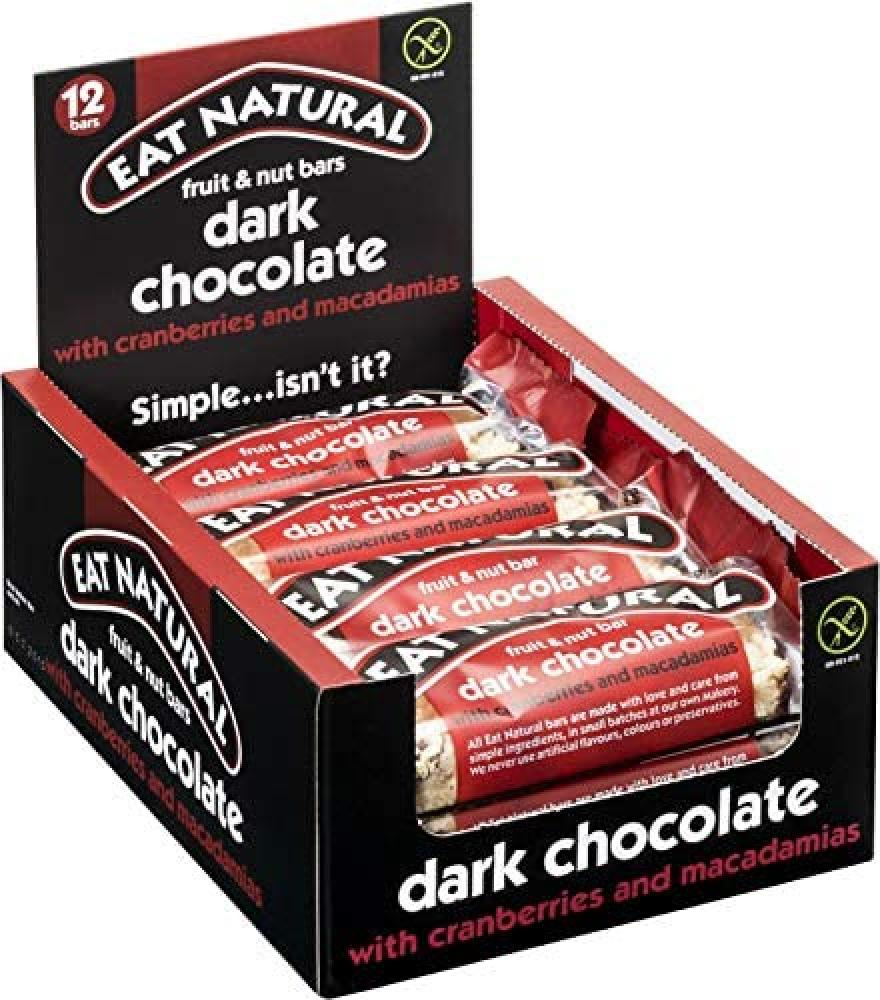 CASE PRICE  Eat Natural Dark Chocolate With Cranberries and Macadamias 12 x 45g
