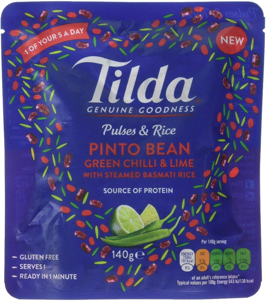 Tilda Pulses and Rice Pinto Bean Green Chilli and Lime 140 g