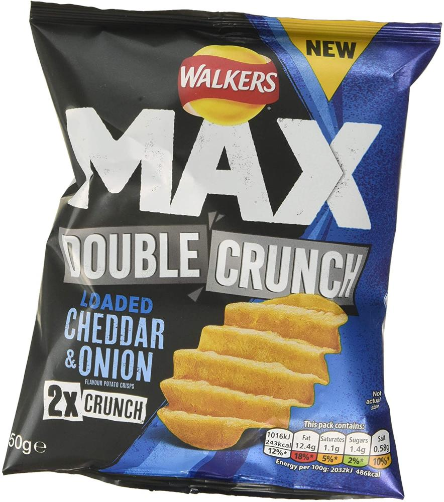 Walkers Max Double Crunch Loaded Cheddar and Onion Crisps 50g