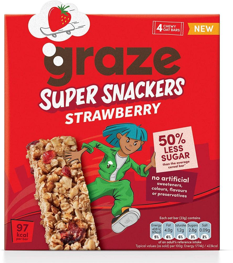 Graze Super Snackers Strawberry Cereal Bars 4x23g