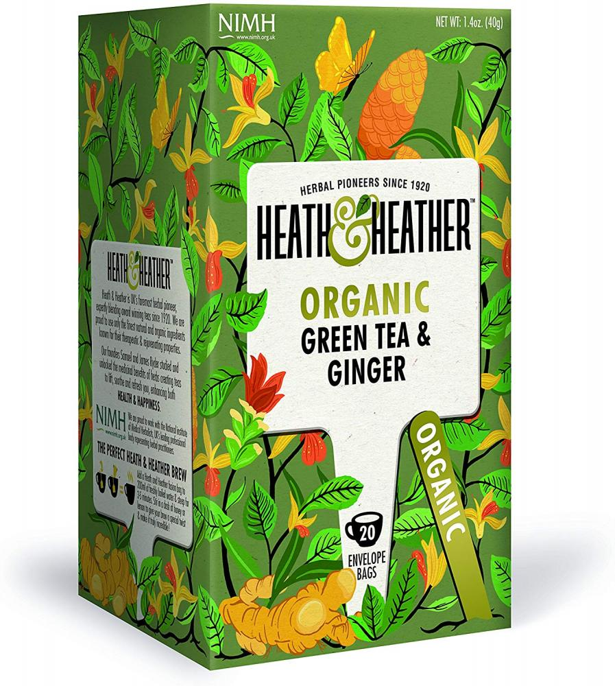 Heath and Heather Organic Green Tea with Ginger 40 g