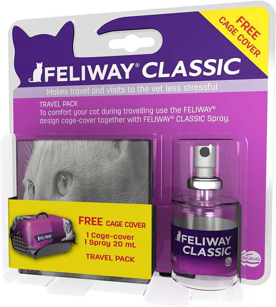 Feliway Classic Travel pack contains a 20ml Spray