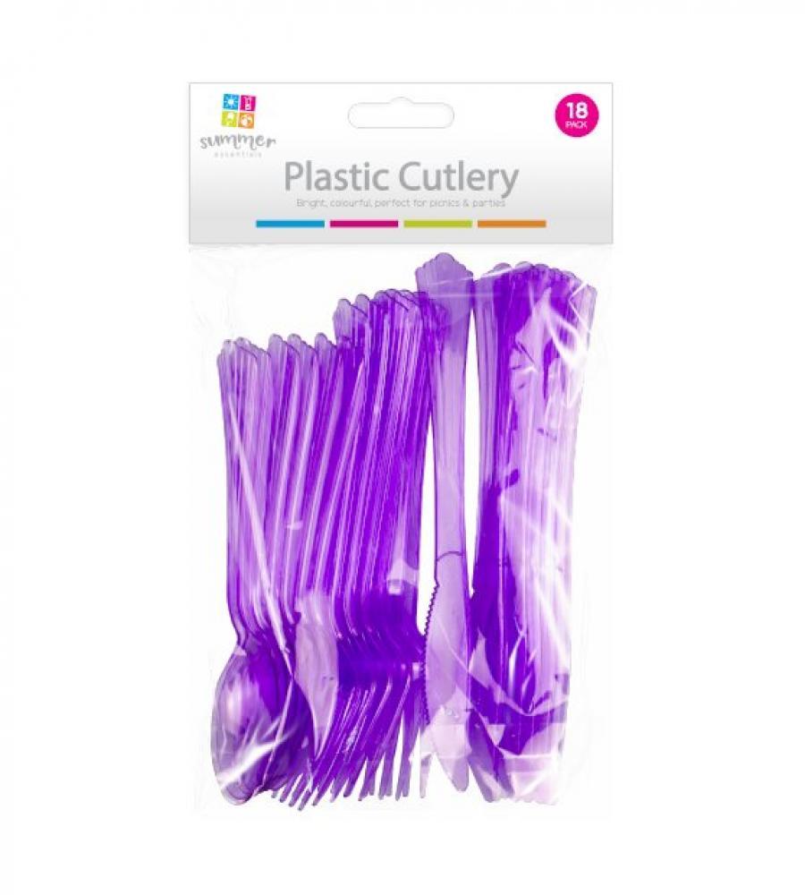 Summer Essentials Plastic Cutlery 18 Pack Purple