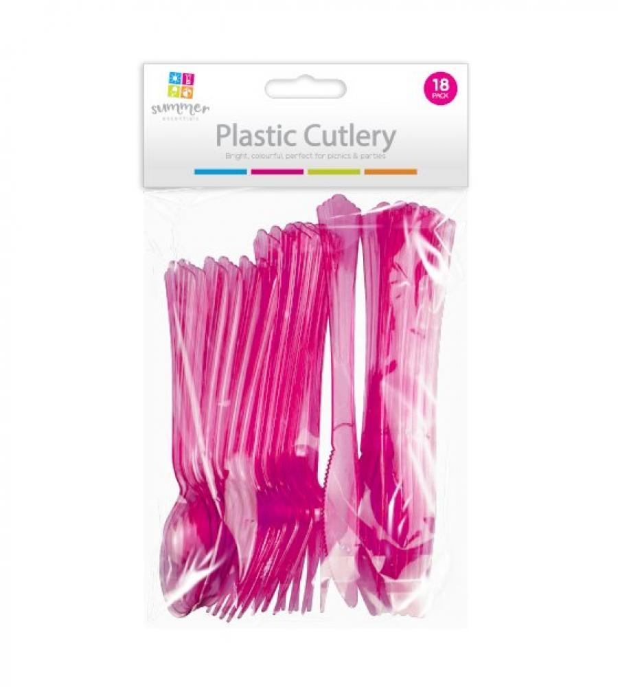 Summer Essentials Plastic Cutlery 18 Pack Red