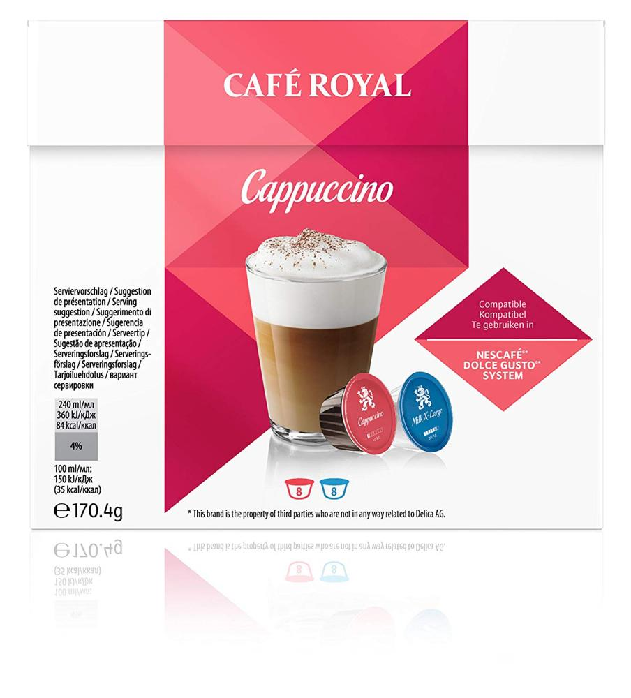 Cafe Royal Cappuccino Coffee Pods Dolce Gusto Compatible 170.4g