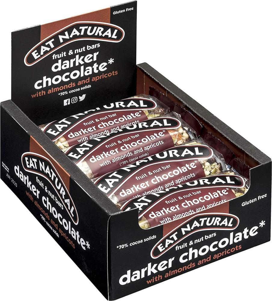 CASE PRICE  Eat Natural Fruit and Nut Bar Darker Chocolate Almonds and Apricots 12 x 45g