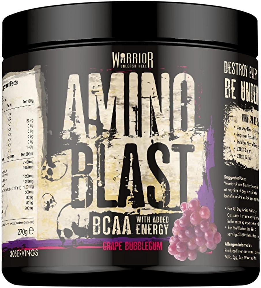 Warrior Amino Blast BCAA Powder Amino Acids Grape Bubblegum 30 Servings 270 g