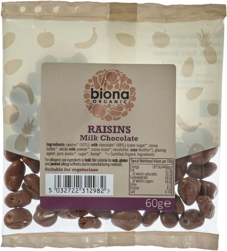 Biona Organic Milk Chocolate Covered Raisins 60g