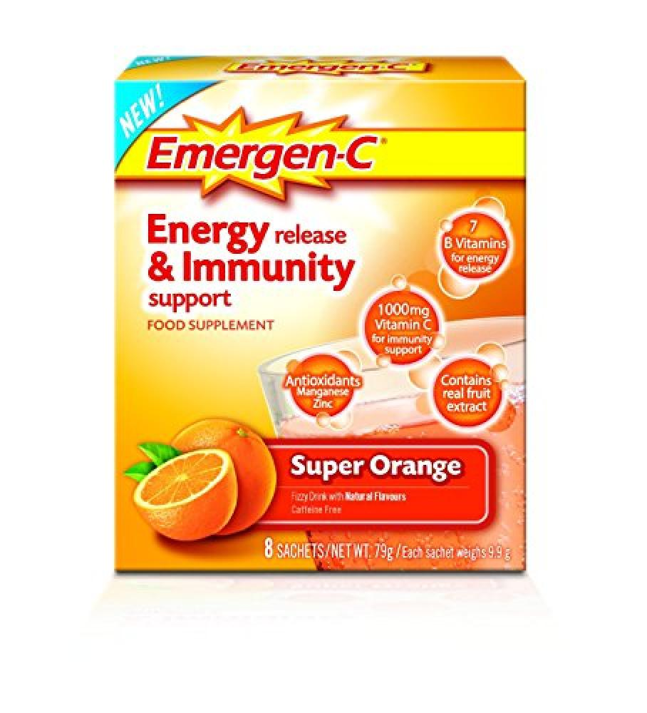 Emergen C Super Orange Energy Release and Immunity Support Food Supplement 8 Sachets