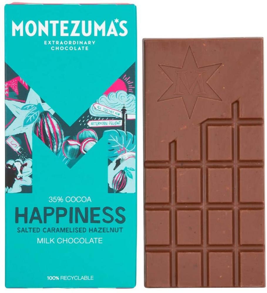 Montezumas Happiness 35 Percent Cocoa Salted Caramelised Hazelnut Milk Chocolate 90g