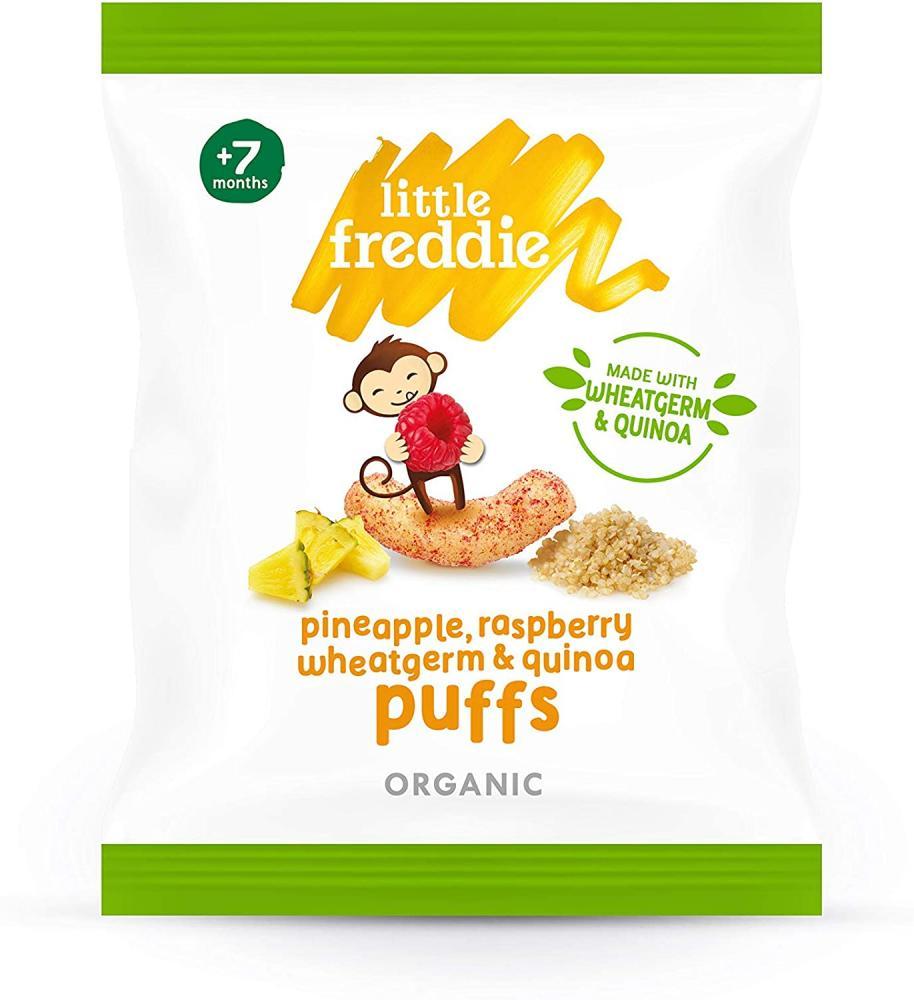 Little Freddie Organic Baby Food Pineapple Raspberry Wheatgerm and Quinoa Puffs 20g