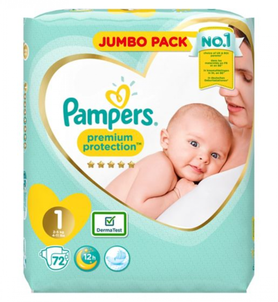 Pampers Premium Protection Size 1 72 Nappies
