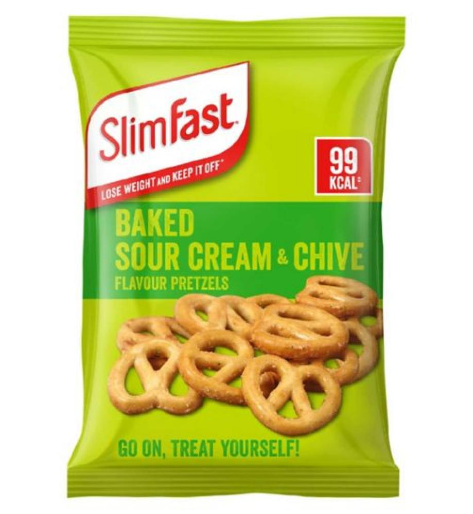 SlimFast Baked Sour Cream and Chive Flavour Pretzels 23g