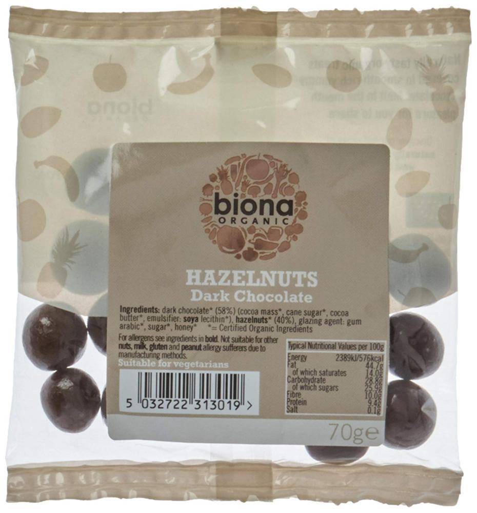 Biona Organic Hazelnuts Dark chocolate 70 g