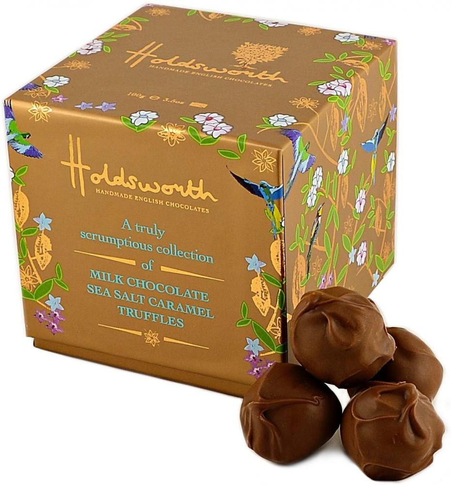 Holdsworth Chocolates Truly Scrumptious Sea Salt Caramel Cube 100 g