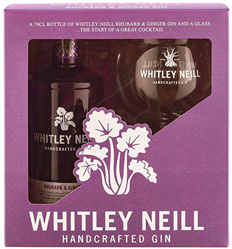 Whitley Neill Rhubarb and Ginger Gin With Glass 700ml Damaged Box