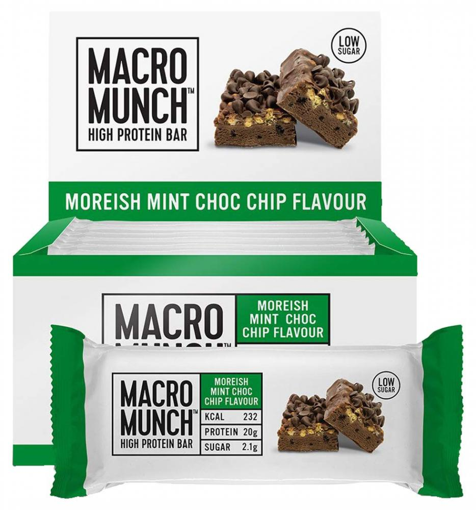 BLACK FRIDAY SPECIAL  Bulk Powders Macro Munch Protein Bar Moreish Mint Choc Chip 62g