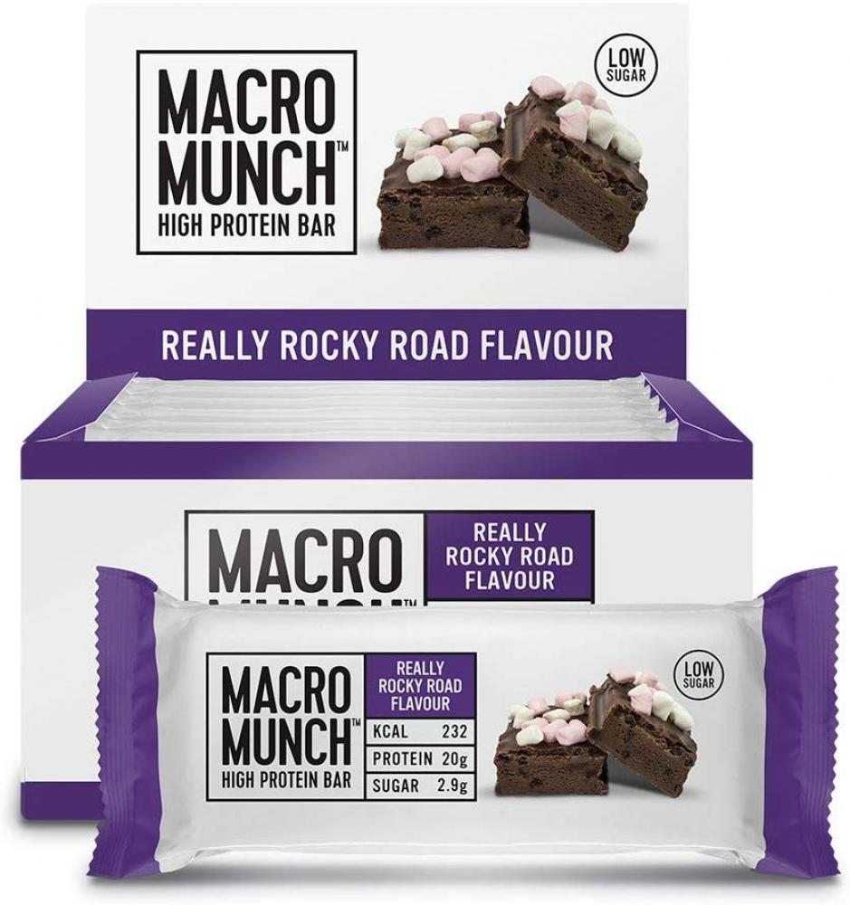SALE  Bulk Powders Macro Munch Protein Bar Rocky Road 62g
