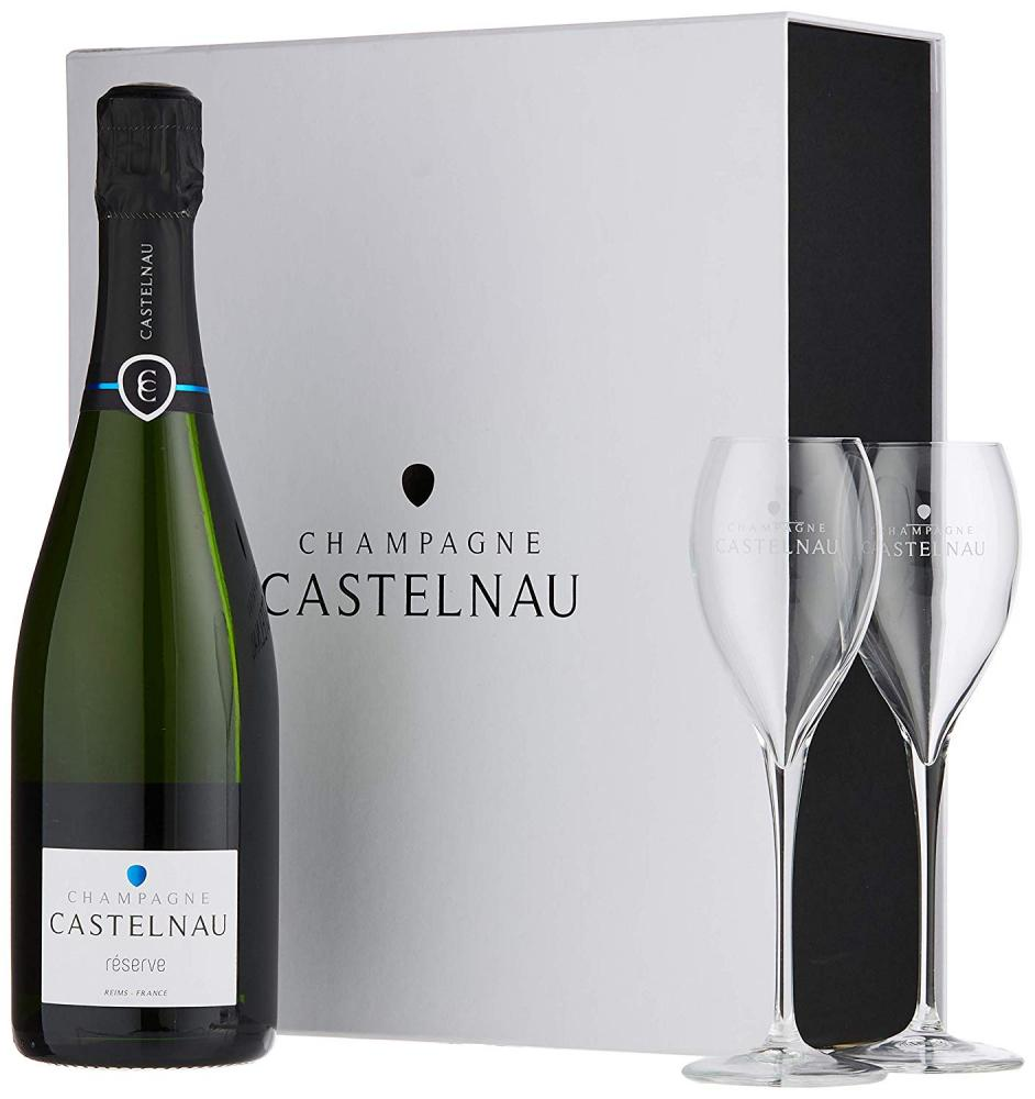 Champagne Castelnau Brut Reserve Wine Gift Set with 2 Flutes 750ml