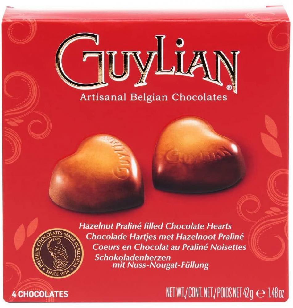 Guylian Valentines Day Hazelnut Praline Filled Chocolate Hearts 4 Chocolates 42g
