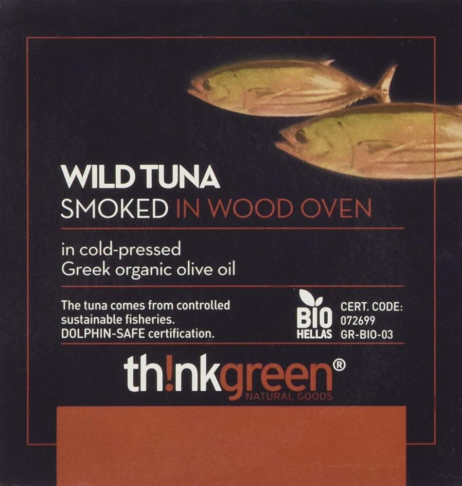ThinkGreen Smoked Tuna in Organic Greek Olive Oil 160g
