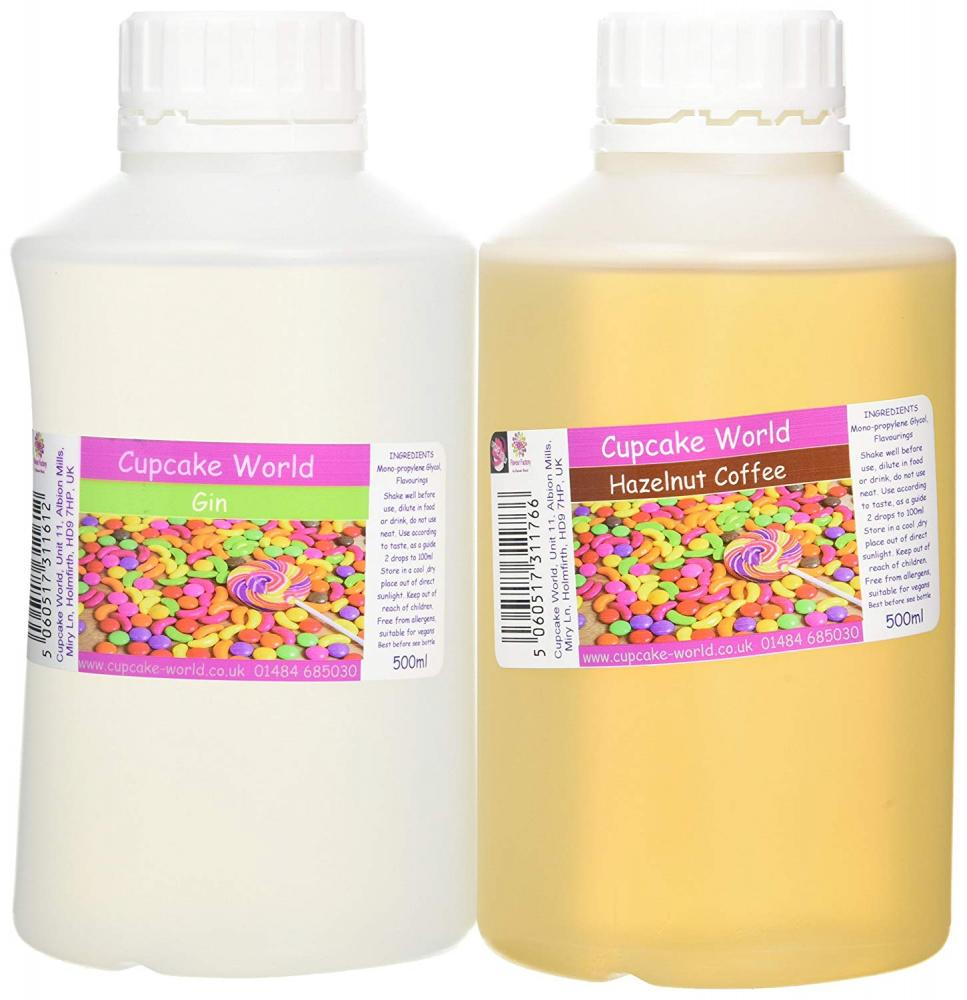 Cupcake World Intense Food Flavouring Duo PackHazelnut Coffee and Gin 2x500ml