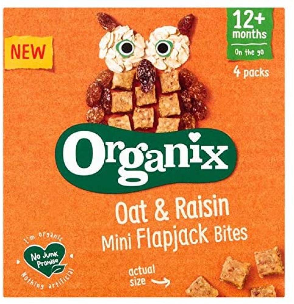 Organix Mini Organic Oat And Raisin Flapjack Toddler Snacks 80 g