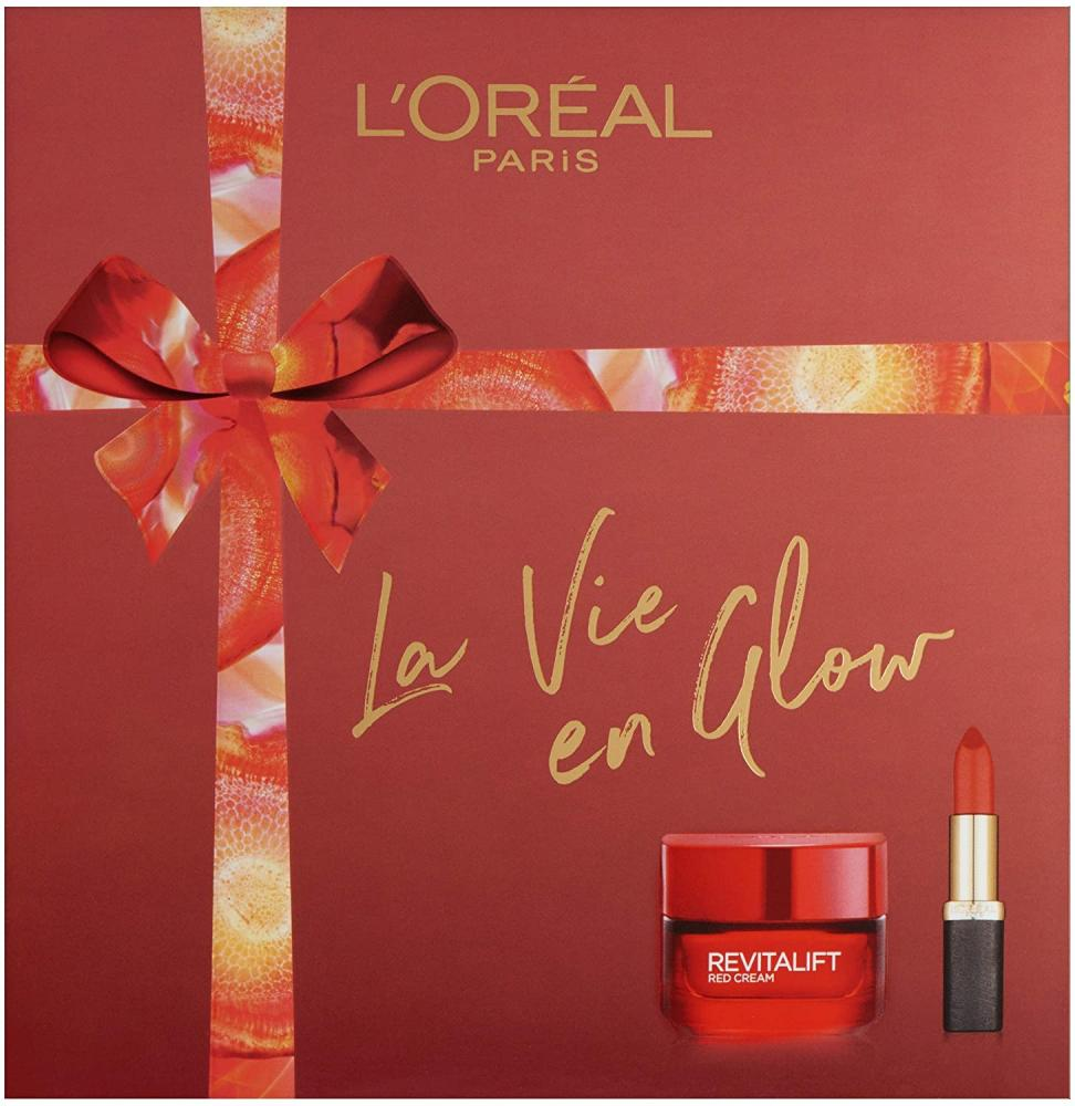 Loreal Paris La Vie En Glow Moisturiser and Lipstick Gift Set for Her 50 ml Damaged Box