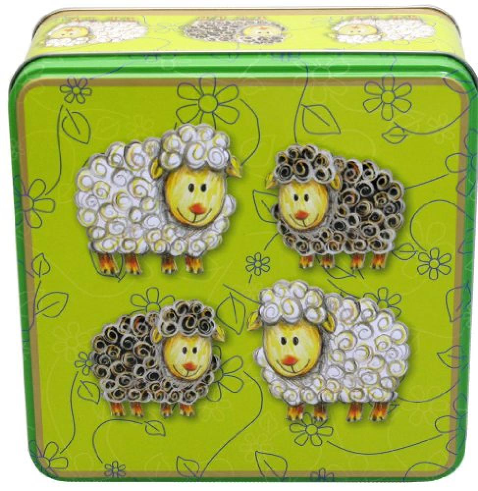 Grandma Wilds Embossed Sheep Biscuit Tin with Stem Ginger and Lemon Biscuits 300 g