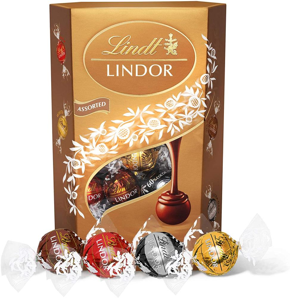 Lindt Lindor Assorted Chocolate Truffles Box 337g Damaged Box